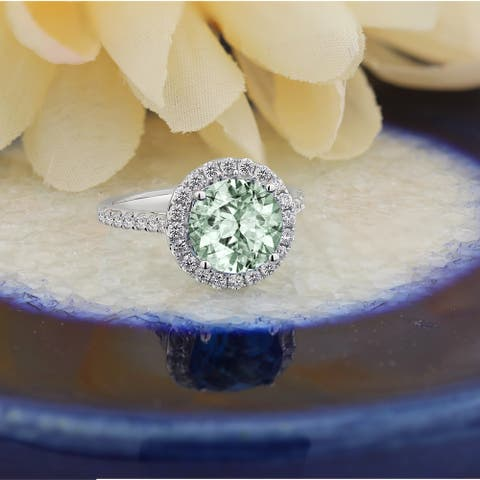 Auriya 2ct Fancy Round Green Amethyst and Halo Diamond Engagement Ring 5/8ctw 14k Gold