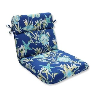 "40.5"" Blue and Green Tropical Island Outdoor Patio Rounded Chair Cushion"