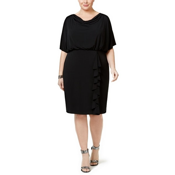 Jessica Howard Plus Size Draped Ruffle Blouson Dress - 14W