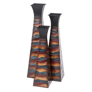 Aspire Home Accents 63596 Tall Square Tapered Floor Vases (Set of 3) - multi-colored