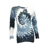Juniors Tie Dye Long Sleeve Shirt Women's Crew Neck Tee