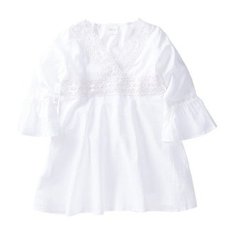 Azul Baby Girls White Bell Sleeve Embroidered Cotton Tunic Cover Up