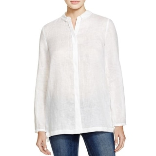Elie Tahari Womens Carly Blouse Linen Pleated Back