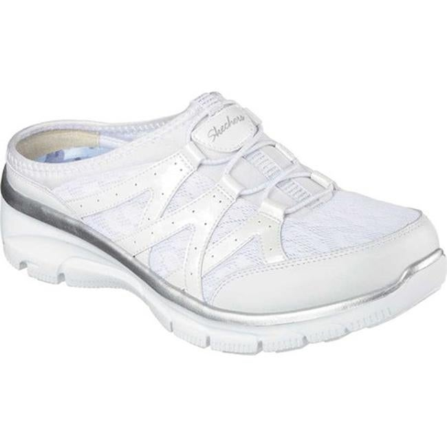 Shop Skechers Women s Relaxed Fit Easy Going Repute Clog Sneaker  White Silver - On Sale - Free Shipping Today - Overstock - 11027579 ea6cb9530