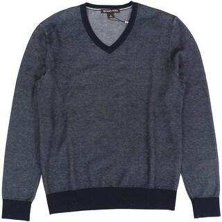 Michael Kors NEW Midnight Blue Mens Size Large L V-Neck Sweater