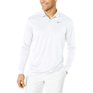 Nike Men S Dry Victory Polo Long Sleeve White Cool Grey Size Medium