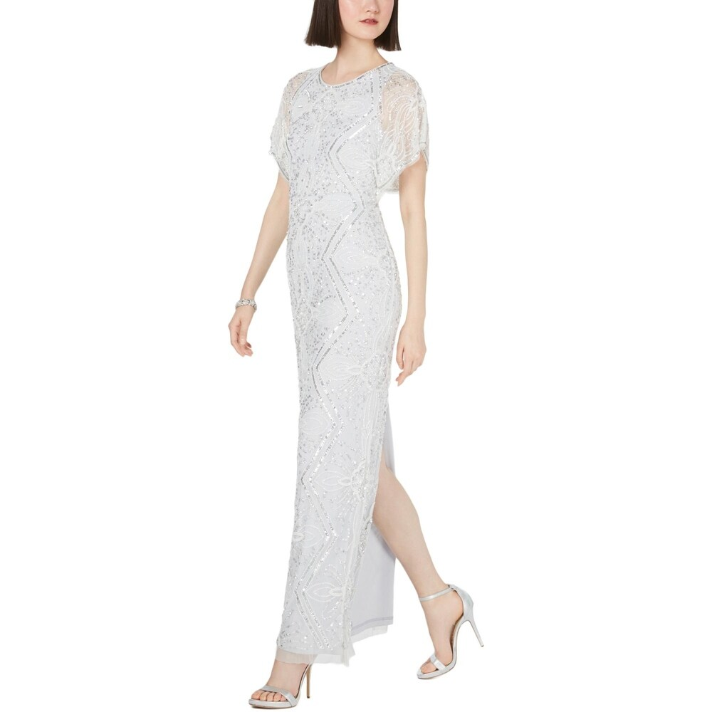 Adrianna Papell Womens Evening Dress Beaded Scoop-Neck - Ivory Cloud