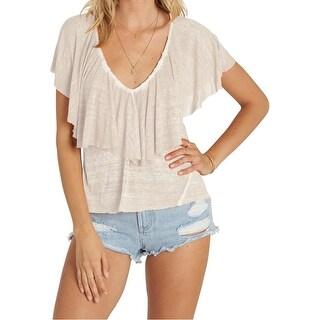 Billabong White Ivory Women's Size XS V-Neck Popover Blouse