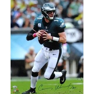 Carson Wentz Signed 16x20 Philadelphia Eagles Green Jersey Photo Fanatics