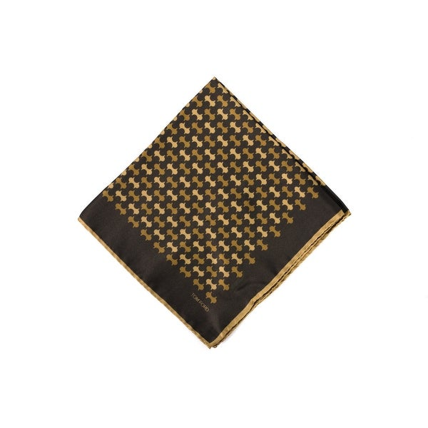 Tom Ford Mens Brown Gold Abstract Print Silk Pocket Square