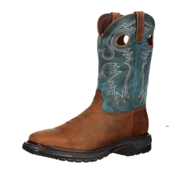 """Rocky Western Boots Mens 11"""" Original Ride Pull On Sky Blue"""