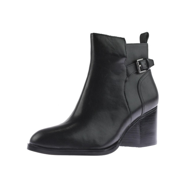 Lauren Ralph Lauren Womens Genna Ankle Boots Leather Stacked Heel