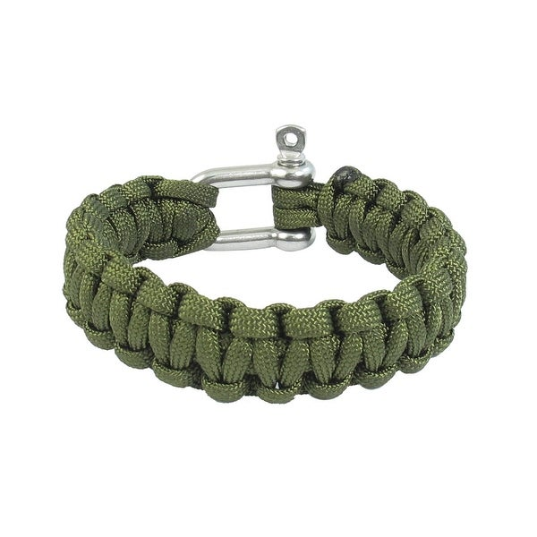 Unique Bargains Stainless Steel Shackle Survival Bracelet Army Green for Outdoor Activities