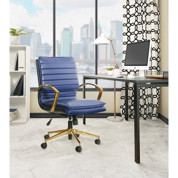 OSP Home Furnishings Gold Base Mid-back Faux Leather Office Chair. Opens flyout.