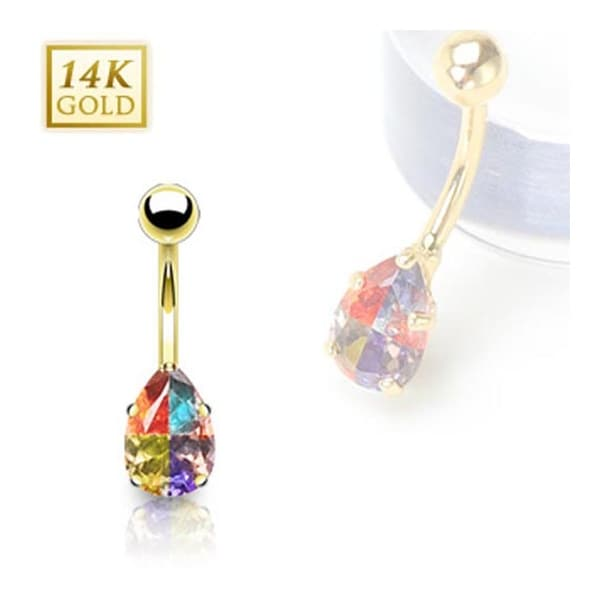 14 Karat Solid Yellow Gold Multi-Colored Tear Drop Prong-Set Miracle Gem Navel Belly Button Ring