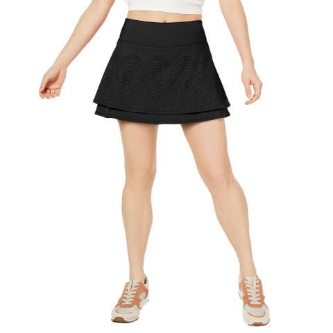 Ideology Women's Perforated Tiered Skort Black Size Small