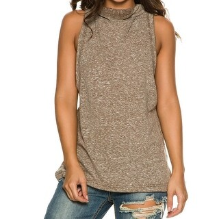 We The Free NEW Brown Women's Size XS Madrid Mock-Neck Tunic Tank Top