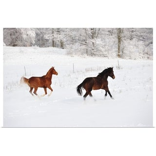 """""""Horses in snow"""" Poster Print"""