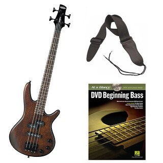 Ibanez Mikro 3/4 Size 4-String Electric Bass Guitar (Brown) with Strap and DVD
