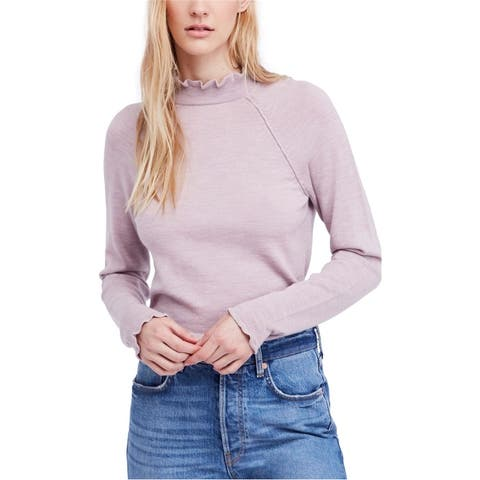 Free People Womens Ruffled Pullover Sweater