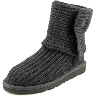 Ugg Australia Cardy Youth Round Toe Canvas Black Winter Boot