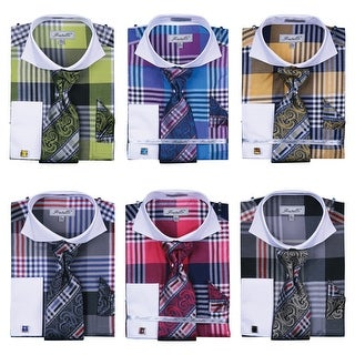 Men's Multicolor Check French Cuff Shirt Cufflinks