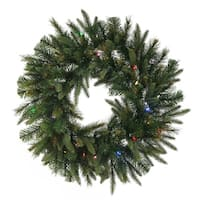 "30"" Pre-Lit Battery Operated Mixed Pine Cashmere Christmas Wreath - Multi Lights"