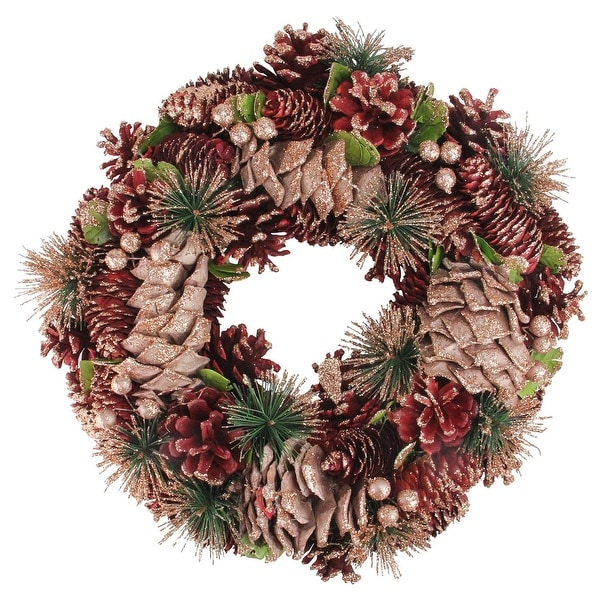 "13.75"" Dusty Rose Pine Cones and Berries Artificial Christmas Wreath - Unlit - brown"