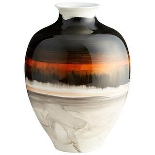 """Cyan Design 09881  Indian Paint Brush 10-1/4"""" Diameter Ceramic Vase - Black / Cream Gradient"""