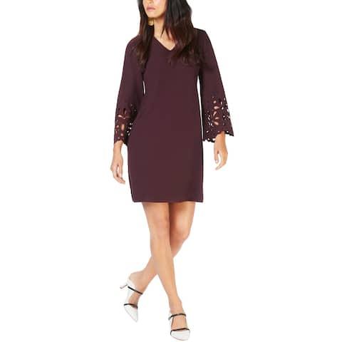 Alfani Womens V-Neck Lasercut A-Line Dress 14 New Wine