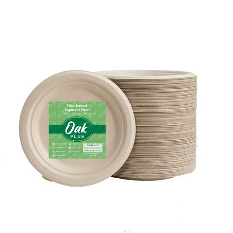 Oak PLUS Eco-friendly Natural Disposable Sugarcane Plates