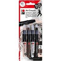 Marabu Creative Art Crayon Set 4/Pkg-Essentials - Flesh, Cocoa, White & Black