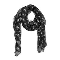 Black / Gray Skull And Crossbones Print Lightweight Scarf 84 Inch X 42 Inch