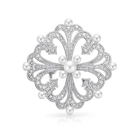 Bridal Art Deco Style CZ Filigree White Imitation Pearl Brooch Pin