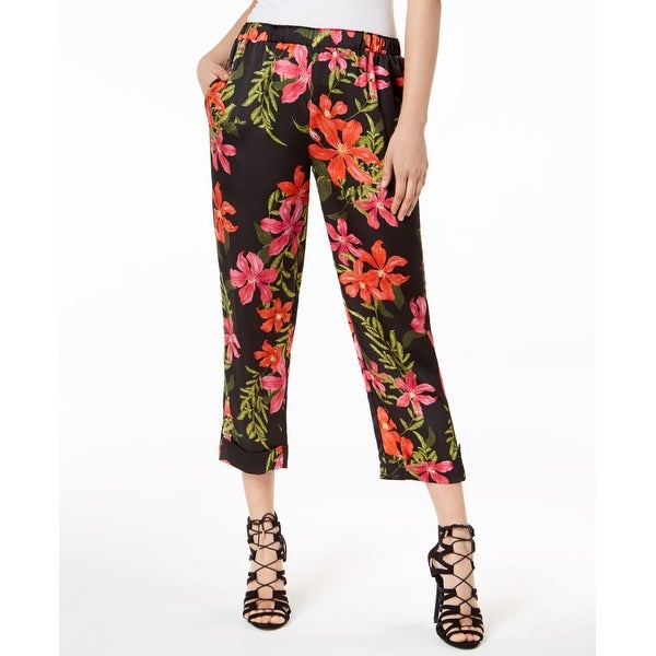 Guess Black Women's Size XL Floral Print Satin Pants Stretch