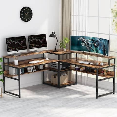 Tribesigns L-Shaped Computer Desk with Storage Shelves, Monitor Riser & 3-Tier Corner Shelf