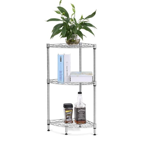 LANGRIA 3-Tire Wire Shelving Storage Rack Corner Shelf Unit