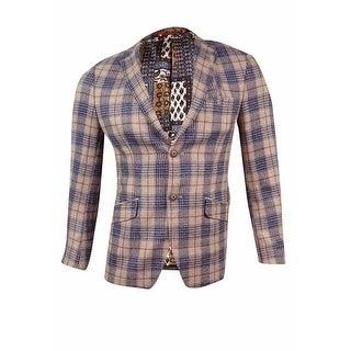 Tallia Men's Slim-Fit Plaid Sport Coat - Blue/Tan