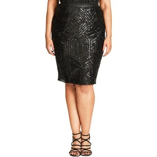 City Chic Womens Plus A-Line Skirt Sequined A-Line