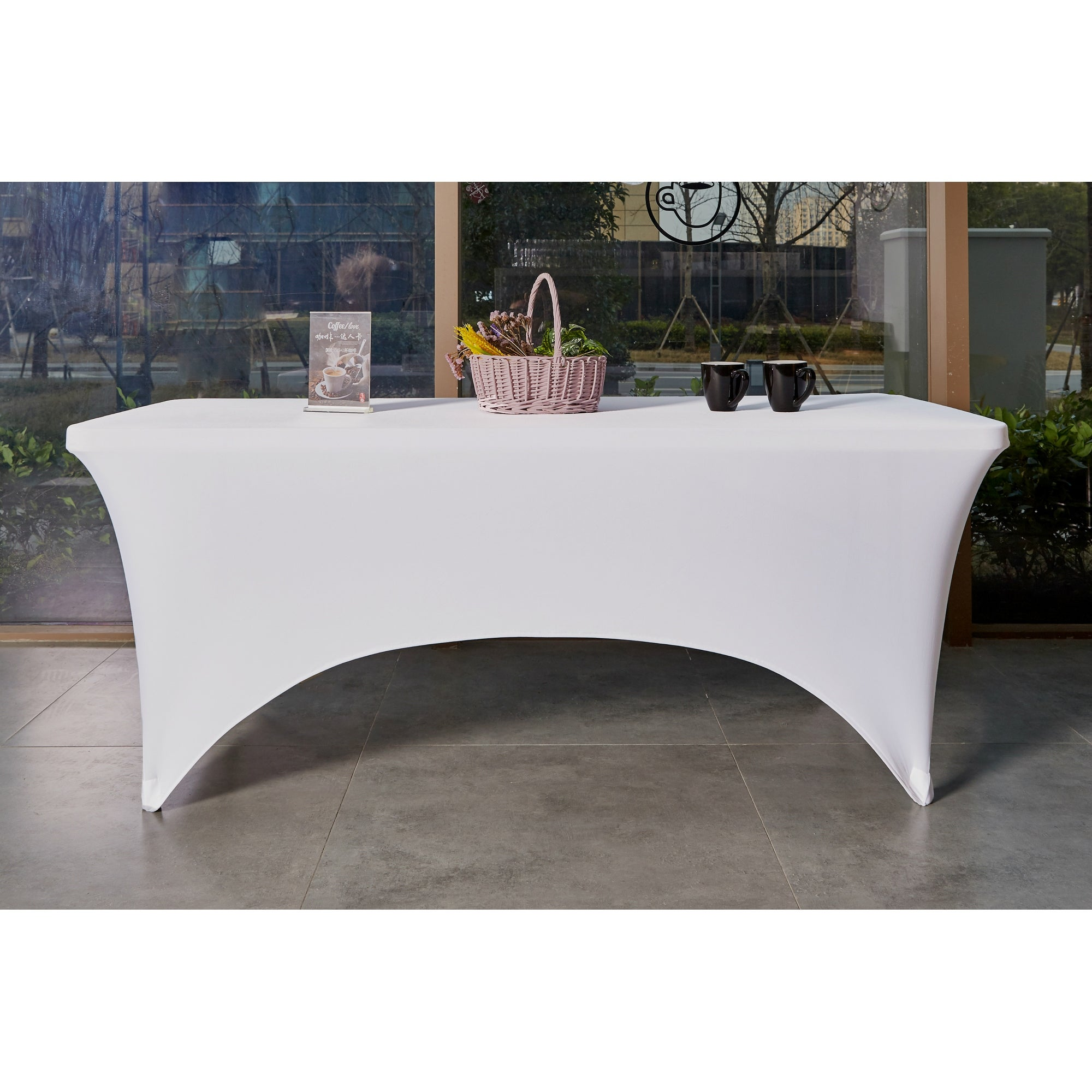 Kitchen Stretchable White Tablecloth Stretch Fitted Table Covers 6 Feet Indoor Outdoor Folding Table Rectangular On Sale Overstock 31516802