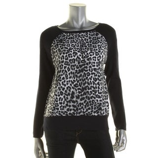 Jones New York Womens Petites Animal Print Ribbed Knit Pullover Sweater - pm
