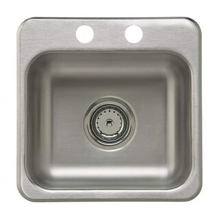 "Sterling B155B-2 15"" Single Basin Drop In Stainless Steel Bar Sink with SilentSh"