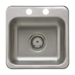 "Sterling B155B-2 15"" Single Basin Drop In Stainless Steel Bar Sink with SilentSh - Stainless Steel"