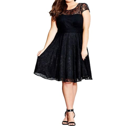 City Chic Womens Plus Audrey Cocktail Dress Lace Mesh Inset
