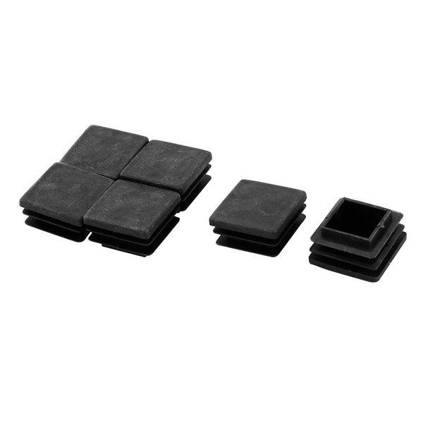 Furniture Chair Leg Foot Plastic Square Tube Pipe Insert Cover Cap Black 6 Pcs