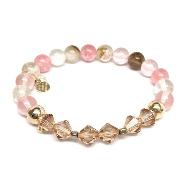"Pink Cherry Quartz & Crystal Chloe 7"" Bracelet"