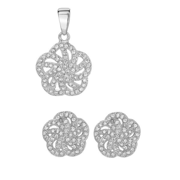 Mcs Jewelry Inc STERLING SILVER 925 FLOWER EARRINGS AND PENDANT SET WITH CUBIC ZIRCONIA