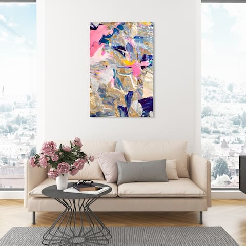 Oliver Gal 'Getting To Know You Gold' Abstract Wall Art Canvas Print Paint - Gold, Pink