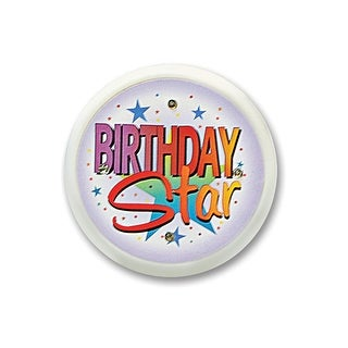"""Pack of 6 """"Birthday Star"""" Flashing Costume Celebration Buttons 2.5"""""""