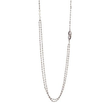 Oxidized Sterling Silver 5-7mm White Freshwater Pearl, Labradorite & White Topaz Necklace